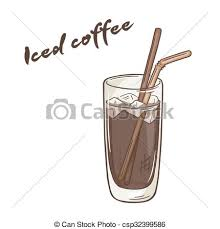Vector Printable Illustration Of Isolated Cup Iced Coffee With Label