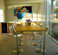 Custom Dining Table Brushed Stainless Steel Legs And Center Strip With Colored Acrylic Top