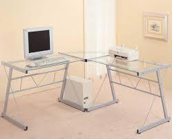 Black Glass Corner Computer Desk by Wonderful Small Desk Computer With Modern Tempered Glass Corner