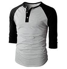 H2H Mens Casual Slim Fit Raglan Baseball Henley T Shirts