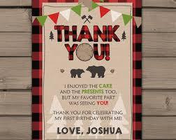 Rustic Lumberjack Themed Thank You Card Birthday Party Plaid Boy First