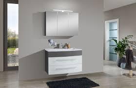 2tlg badezimmer set hochglanz weiß grau 100 cm genf