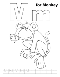 M For Monkey Coloring Page With Handwriting Practice
