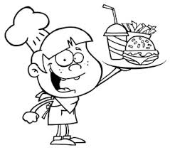 Chef Clipart Image A Happy Young Chef Holding a Tray of Fast Food in Black