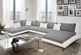 canapes d angle canapé d angle en pu blanc et tissu gris duccio 2 salon