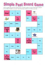 English Worksheet Simple Past Board Game