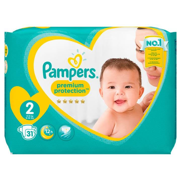 Pampers Premium Protection Nappies - Size 2, 31 Nappies, 4-8kg