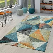 kurzflor teppich blau orange bunt weich wohnzimmer dreieck