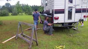 How To Load Camper With No Jacks. - YouTube