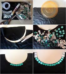 DIY Collar Necklace With Green And White Rhinestones