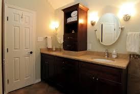Bathroom Vanity Tower Cabinet by Dazzling Double Bathroom Vanities With Towers And Dark Wood