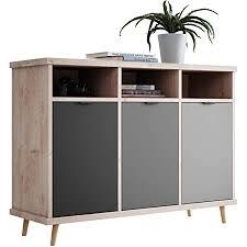 newfurn kommode grau eiche hirnholz sideboard modern vintage 120x88x40 cm bxhxt highboard anrichte conni three wohnzimmer schlafzimmer flur
