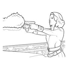 Avengers Black Panther Widow Firing Printable Coloring Pages