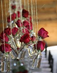Love These Hanging Jar Vases Using Wild Flowers Instead Of Roses For A Outdoor Rustic