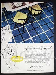 Mid Century Kitchen Decor Tile Floor Table Chairs 1955 Print Ad