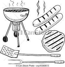 Backyard Barbecue Equipment Sketch Vector
