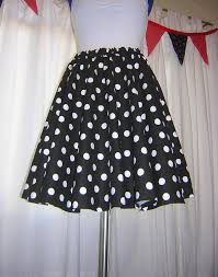 black red or pink and white polka dot circle skirt custom made