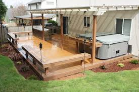 Covered Patio Bar Ideas by Timbertech Earthwood Deck With Built In Benches Table By The