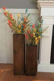 Wooden Vases Reclaimed Wood Rustic Floor Set Of Two Farmhouse Decor Large Vase Porch