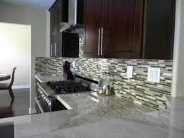 glass tiles backsplash with granite counters ideas for