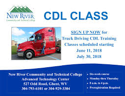 100 Truck Driving Training Schools CDL Classes Offered At New River CTC Starting In June And July New