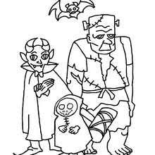 Group Of Halloween Monsters Coloring Page