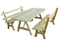 outdoor cedar wooden picnic table with detached benches with back