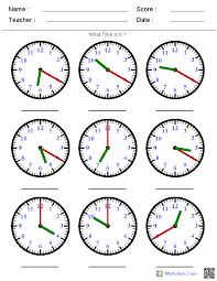 Identify The Time By Hands Worksheets