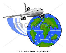Jet Plane With Globe Stock Illustration