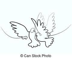 dove Flying two pigeons logo Continuous one line different