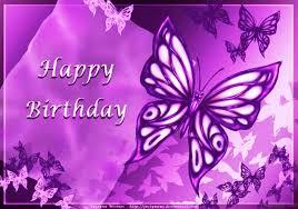 Happy Birthday With Purple Butterflies 1510