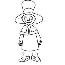Alive Witch Doll Halloween Monster Without Mouth Coloring Page