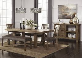 Tamilo Gray Brown Rectangular Dining Room Extension Table W 4 Side Chairs Bench