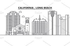 100 Long Beach Architect California Architecture Line Skyline Illustration Linear Vector Cityscape With Famous Landmarks City Sights Design Icons Landscape Wtih