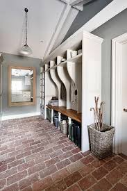 Long Rustic Mudroom With Brick Paver Floor Cottage Laundry Room In Flooring Design 10