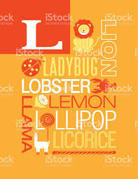Letter L Poster Illustrations And Words That Start With L stock