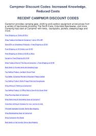 Campmor Discount Codes By Coupon Codes - Issuu