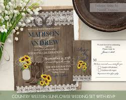 Rustic Sunflower Wedding Invitation Set Country Western Invites Mason Jar Lace Wood Horseshoes Cowboy Boots
