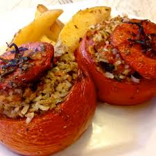 Traditional Greek Style Stuffed Tomatoes And Green Peppers Gemista