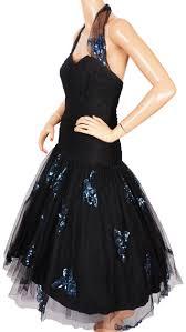 vintage 50s halter neck dress black tulle blue sequins on net ball