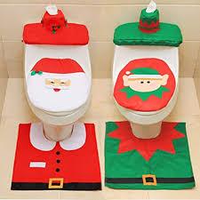 luleke 6pcs weihnachtsdeko wc sitz cover weihnachten toilettensitzbezug weihnachts wc dekoration toilettenvorleger badezimmer set mit sitzbezug