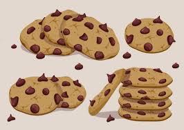 Vector Biscoito de Chocolate Set Chocolate Chip CookiesChocolate ChipsDrawing
