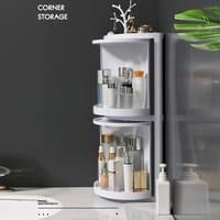 badezimmer eckschrank 360 grad dreieck regal multifunktions rack wand kueche kosmetische aufbewahrungsbox weiss 31 5 29 23 cm