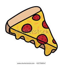 Pizza doodle drawing slice of pizza with cheese and pepperoni Vector illustration drawing