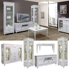 justina klassisches wohnzimmer komplett set echtholz eiche milchfarbe weiß