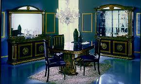 esszimmer wohnzimmer komplett set schwarz gold hochglanz