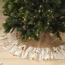 Burlap Christmas Tree Skirt With An Ivory Cotton Ruffle Trim 80 Jute 20 Measures 56 Inches Round Dry Clean Only Stocking Sold Separately