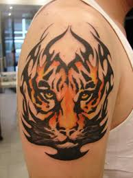 Tribal Angry Face Tiger Tattoo For Men Shoulder
