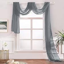 miulee 1 stück querbehang transparente freihanddeko aus transparentem voile deko einfarbige gardinen dekoschals vorhang für schlafzimmer wohnzimmer