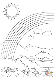 Click The Rainbow Over City Coloring Pages